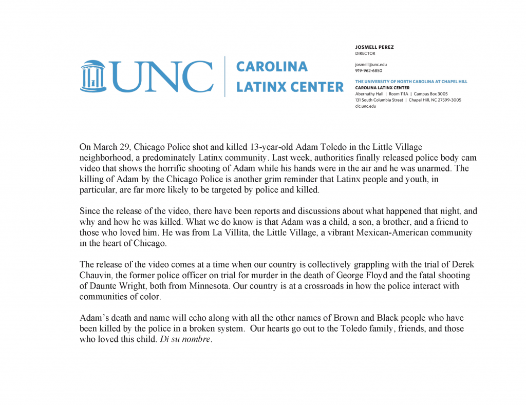 CLC Reflect on the Death of Adam Toledo
